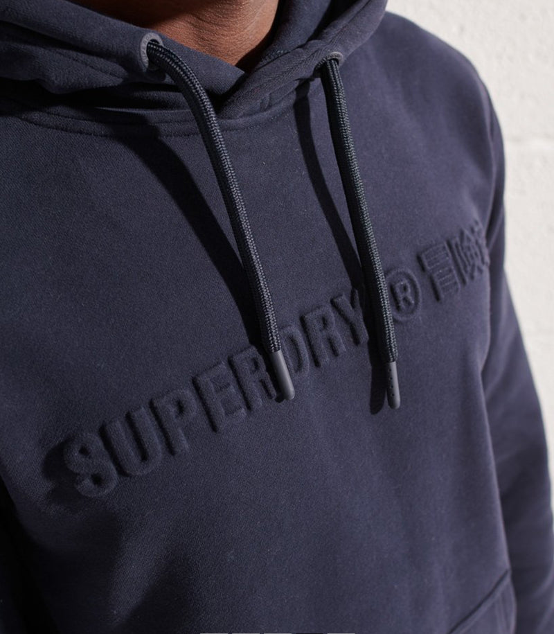 Superdry Men's Sportstyle Embossed Hoodie Deep Navy Blue