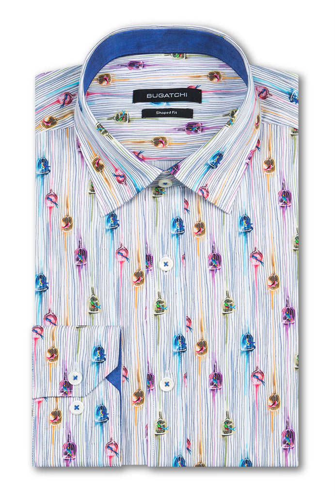 Bugatchi Men's Dress Shirt BIRD CAGE Candy French Cuff Shaped fit