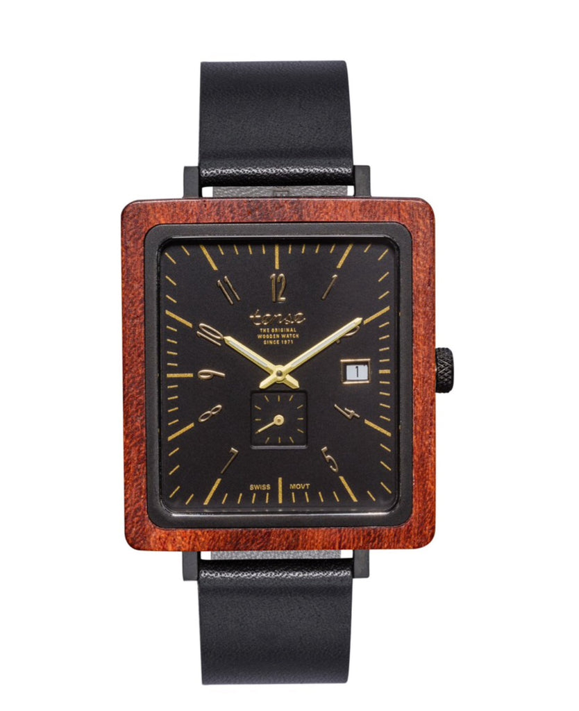 Tense BRUNSWICK Leather Rosewood/Black Men's Wooden Watch
