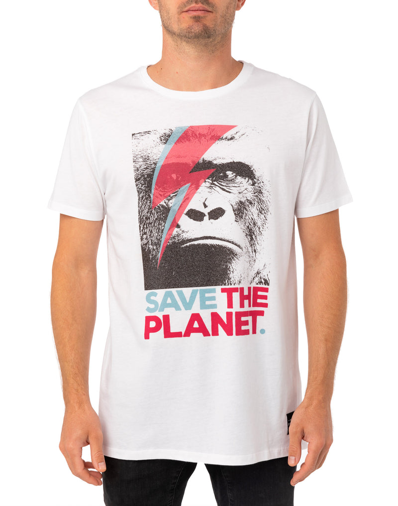 Pullin Men's White Save The Planet Gorilla T-Shirt