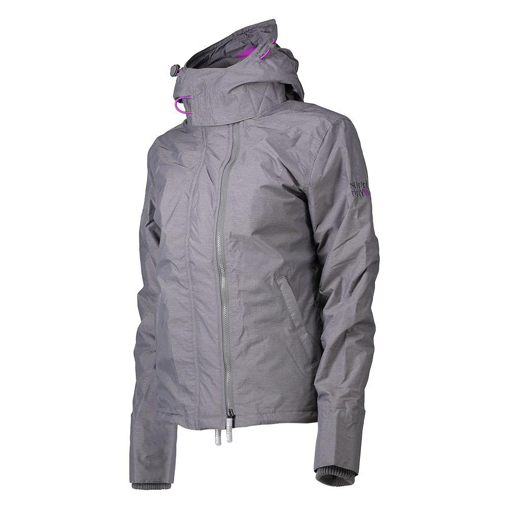 Superdry Woman's Jacket POP Zip Hood Arctic Windcheater NB Light Grey Marl/Orchid Purple
