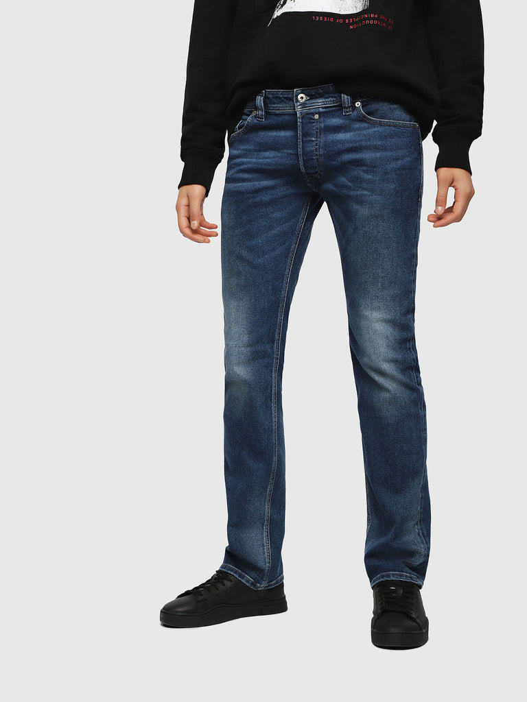 Diesel Men's Jeans SAFADO Regular Slim-Straight Stretch Medium Blue Denim