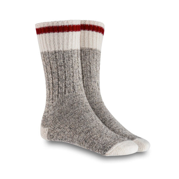 XS Unified Wool Camp Socks Size Medium 7-10 made in Canada 🇨🇦 red trim