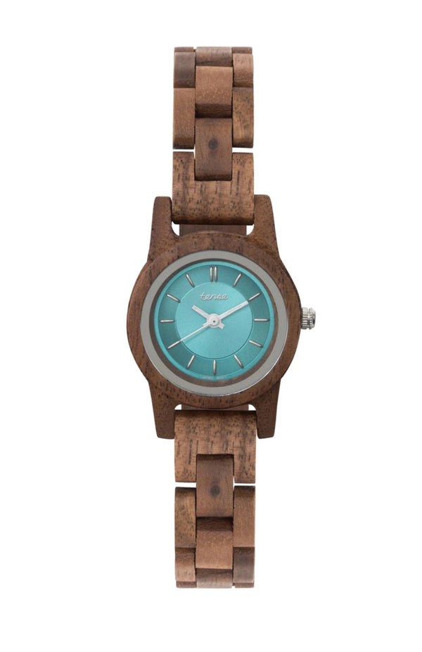 Tense Women's Hampton 2 Walnut/Teal Wooden Watch