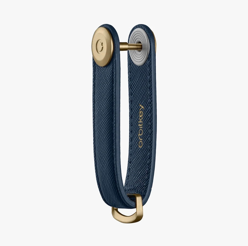 Orbitkey Key Organizer Genuine Saffiano Leather Oxford Navy Blue