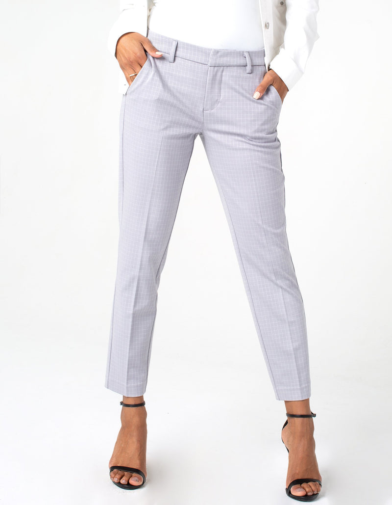 Liverpool Women's Kelsey Trouser grey grid printed ponte