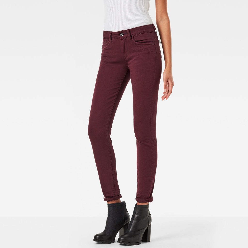 G-Star Midge Zip Mid Skinny Color Woman Jeans Maroon