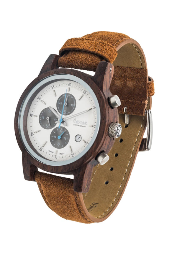 Tense Wood Watch Cambridge Chrono Suede Tan Unisex