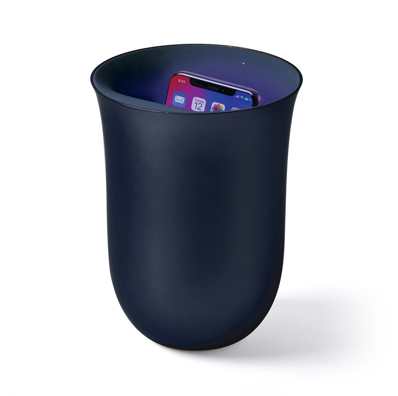 Lexon Oblio Wireless charging station with built in UV Sanitizer Kills 99.9% Dark Blue