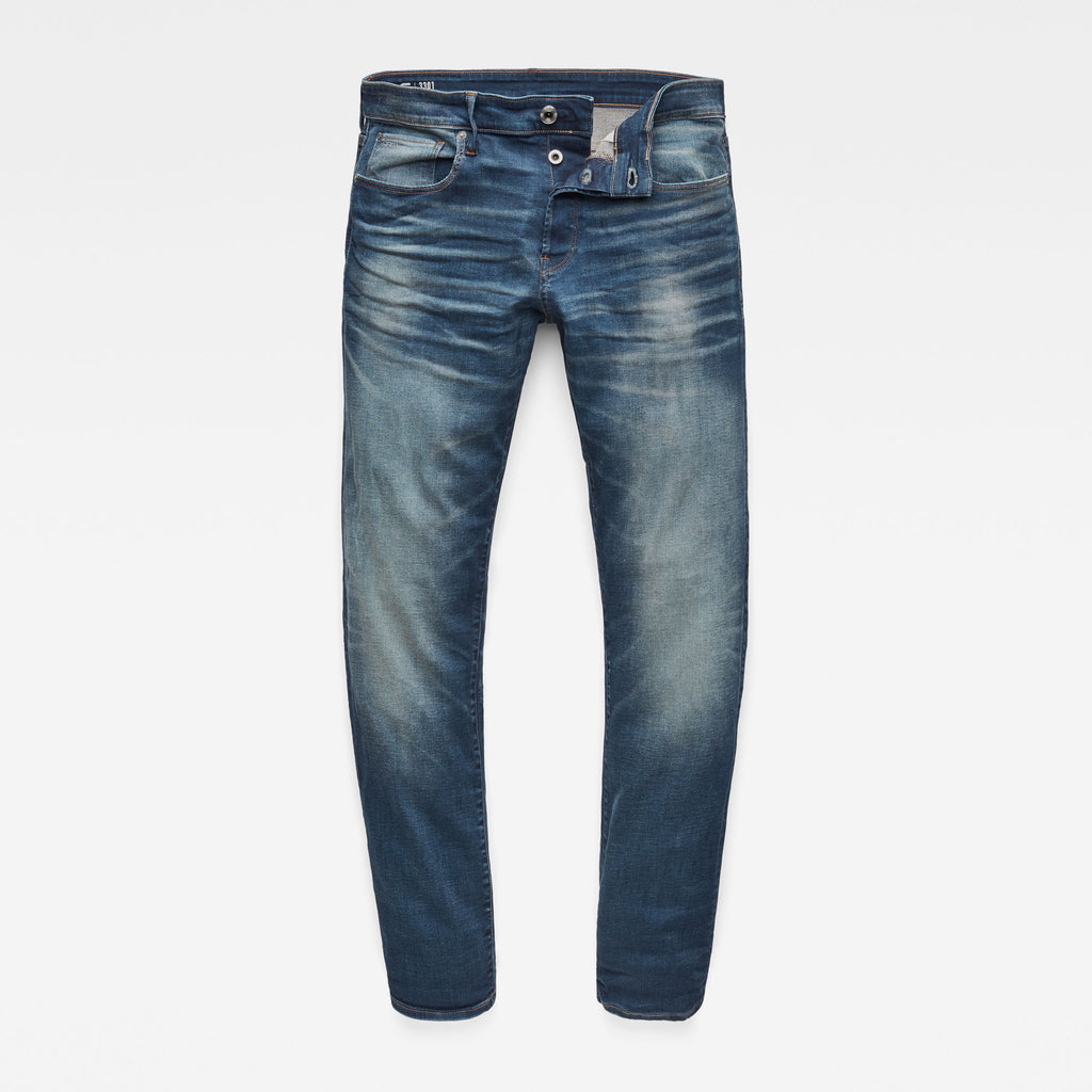 G-Star Raw Men's Jeans 3301 Straight Denim Worker Blue Faded
