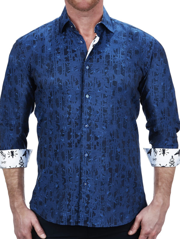 Maceoo Men's Dress shirt Fibonacci Plasma Blue