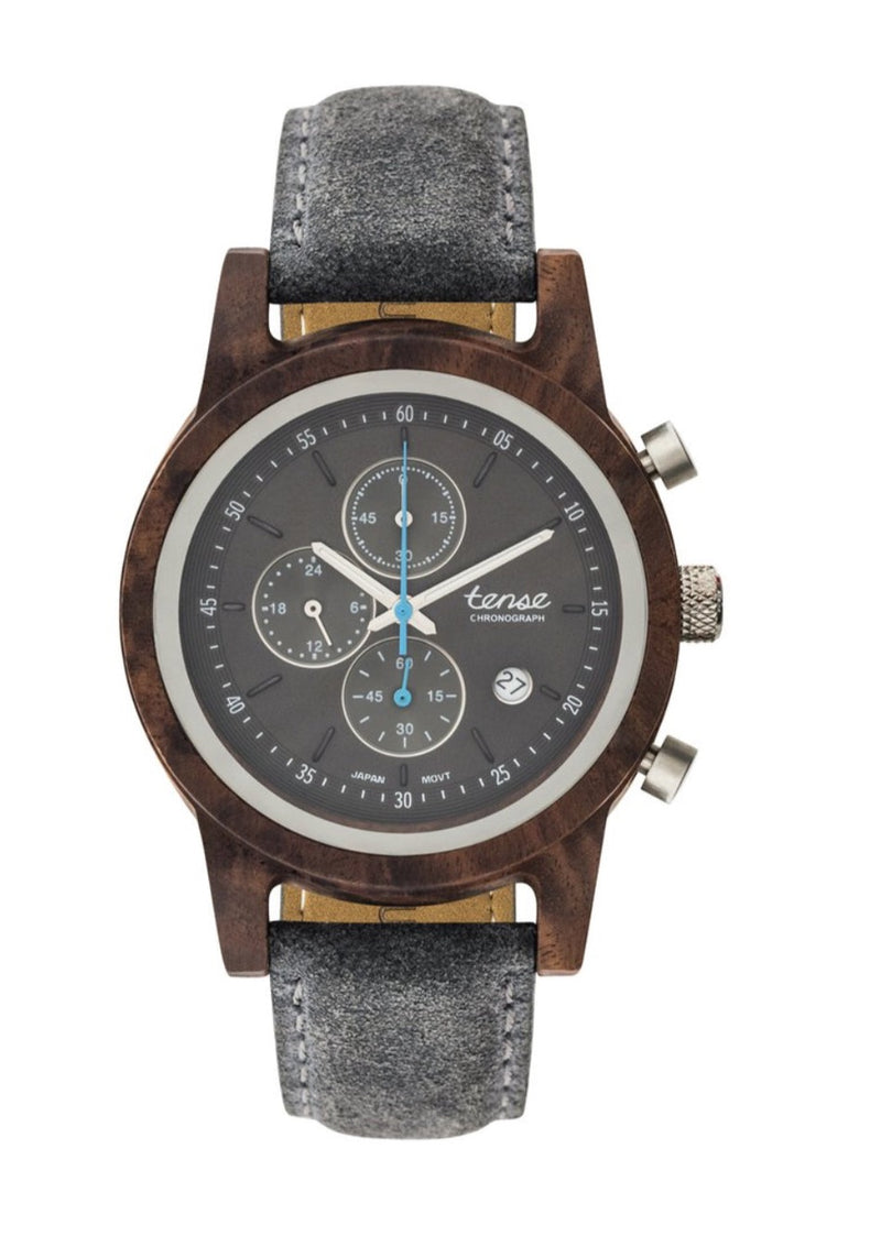 Men's Wood Watch Cambridge Chrono Suede Smoke