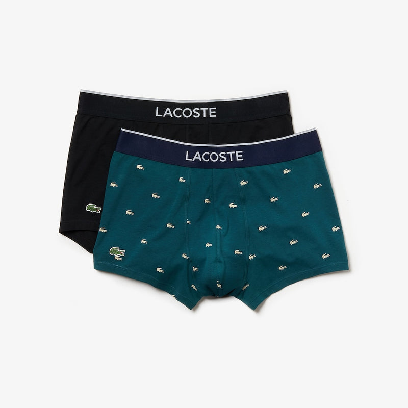 Lacoste men's cotton stretch pack of 2 boxer briefs Black/green