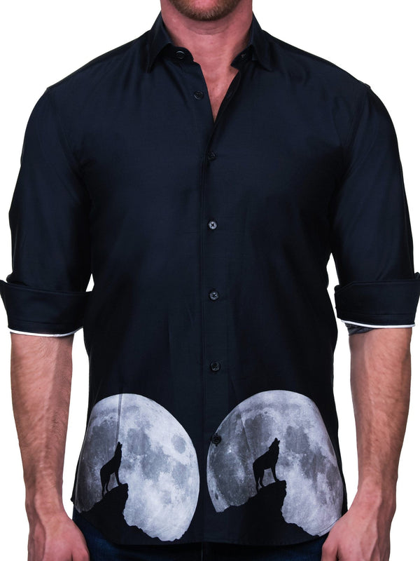 Maceoo Men's Dress Shirt Wolf Black Long Sleeve Dress Shirt French Cuff Fashion