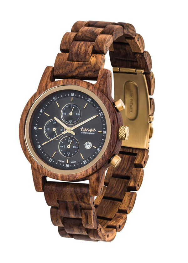 Men's Wood Watch Cambridge Chrono Teak/Gold/BG Made In Canada