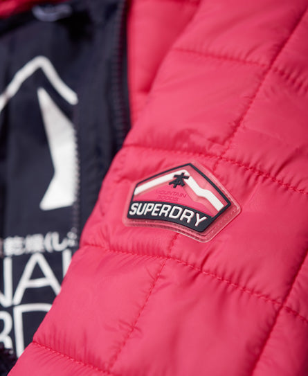 Superdry Woman's HOODED BOX QUILT FUJI Jacket  Sport Code Pink