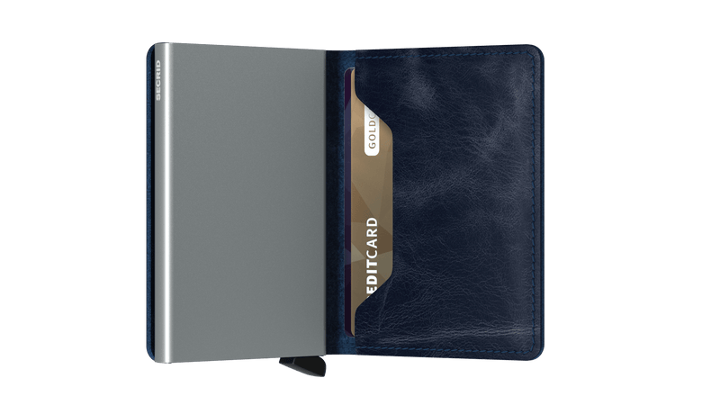 Secrid Slimwallet Vintage Blue RFID Secure Authorized Dealer Leather Slim Wallet