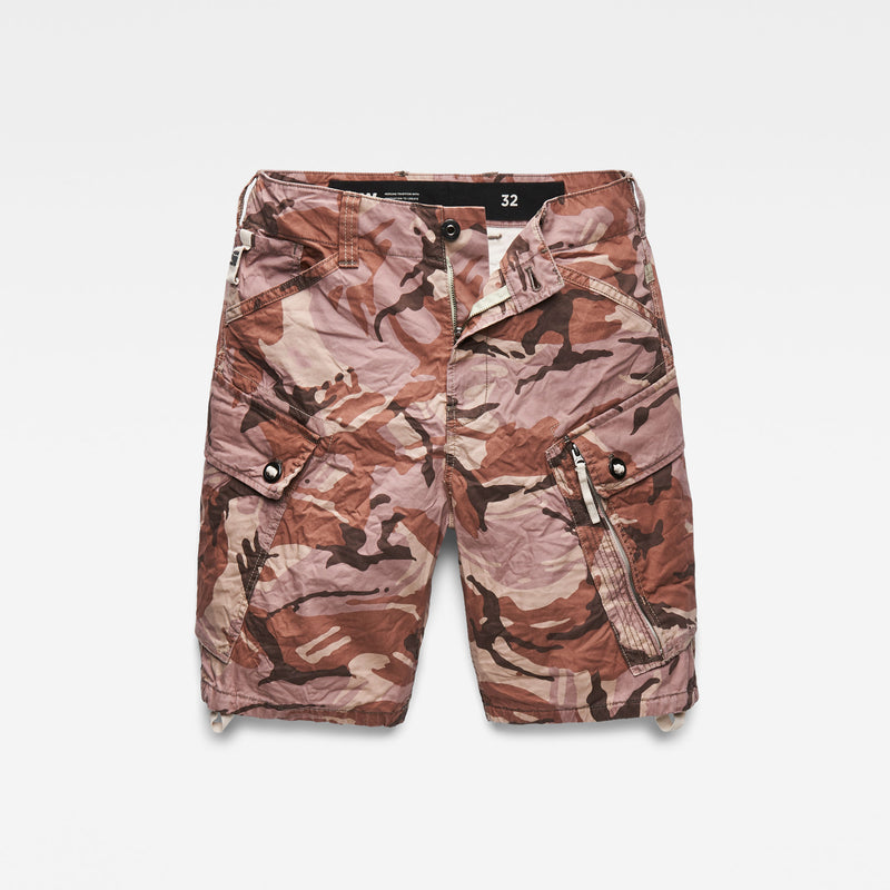 G-Star Raw Men's Roxic Camo cargo Shorts soft taupe/chocolate berry straight cut