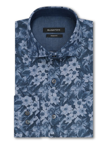 Bugatchi Men's Dress Shirt PLATINUM Tattersall