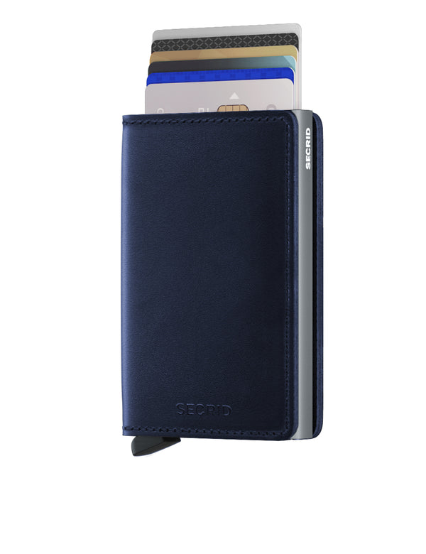Slimwallet Navy Blue Polished RFID Secure Authorized Dealer Leather Slim Wallet