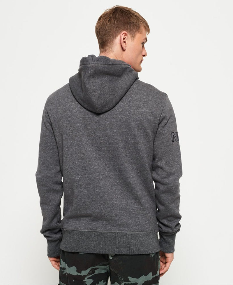 Superdry Men's long sleeve hoodie tri lined hood academy grey grit