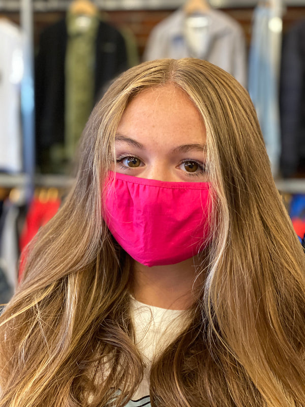 Unisex Mask 100% Cotton Hot Pink One Size Fits All Adjustable Masks