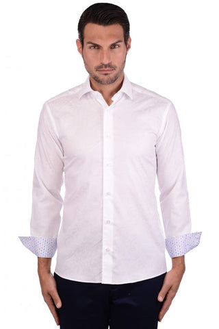 AuNoir Men's Dress Shirt Lazio White Multi Long Sleeve French Cuff Fashion