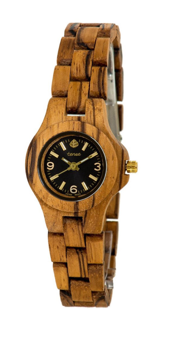 Tense wooden watch small northwest zebrawood women's