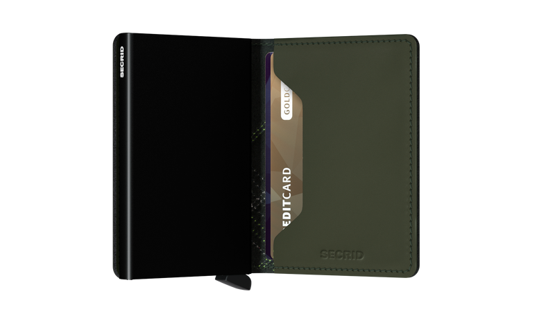 Slimwallet Stitch Linea Lime-RFID Secure Authorized Dealer Genuine Leather Slim Wallet