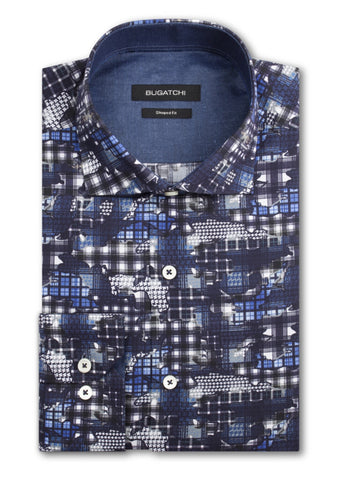 Bertigo Men's Dress Shirt Finn/02 Blue Short Sleeve Fashion
