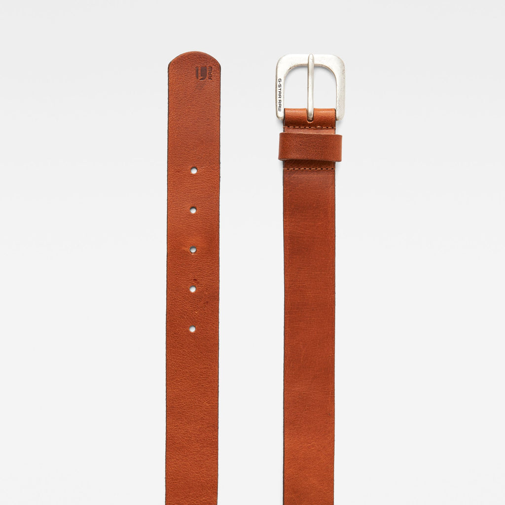 G-Star ZED Belt Dark Cognac/Antic Silver Men's Cuba Leather