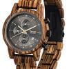 Tense men's wooden watch Cambridge hand made in Canada Zebrawood/Black