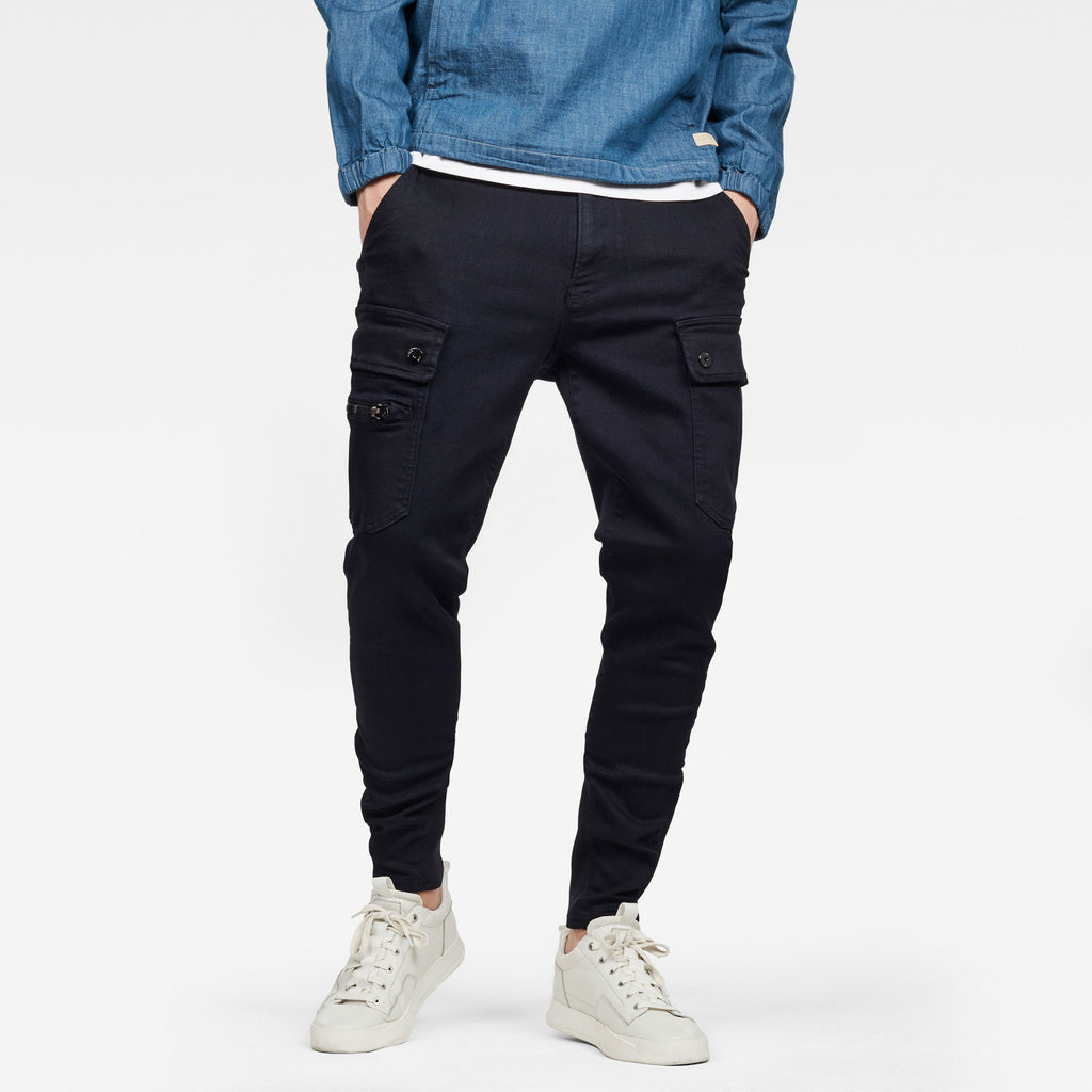 G-Star Men's slim tapered slander blue cargo superstretch made with sustainable materials
