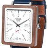 Tense BRUNSWICK Leather Men's Walnut Silver Watch wooden watch