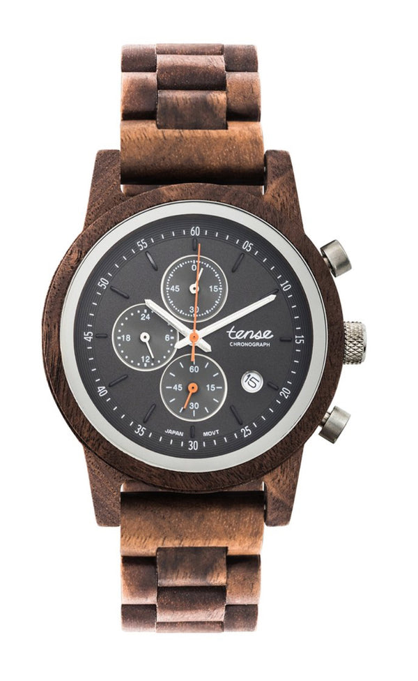 Tense Men's Wooden Watch Cambridge Walnut silver made in canada