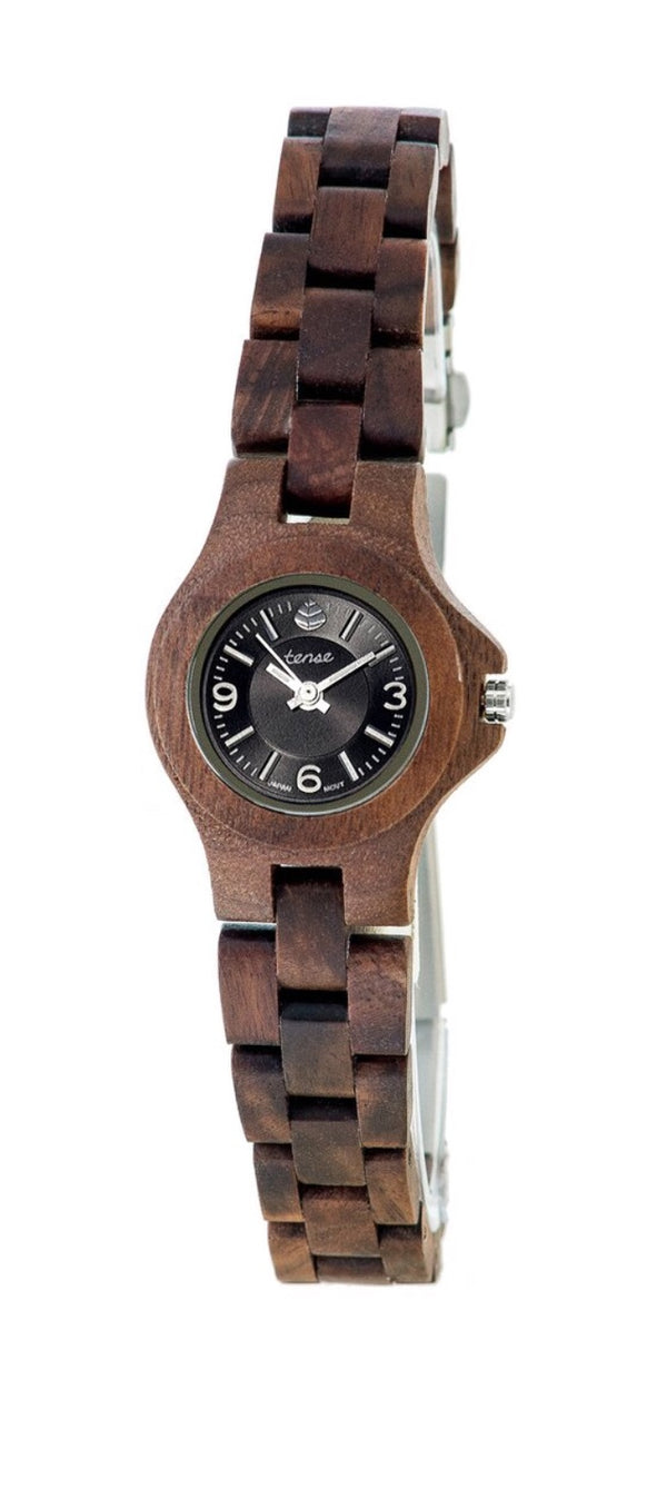 Tense wooden watch women's small northwest walnut/black dial