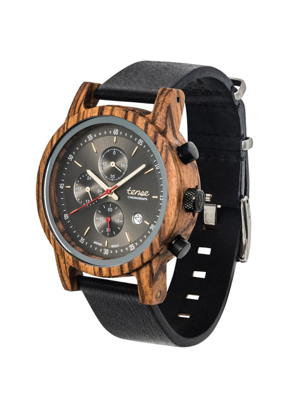 Tense Men's Wood Watch Cambridge Chrono Zebra/Black/SG/BLK Made In Canada.