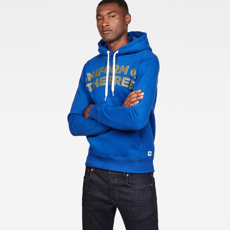 G-Star men's graphic 83 core hooded sweatshirt hoodie hudson blue