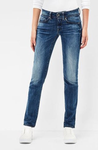 G-Star Women's high slim navy Overall medium indigo aged denim jeans