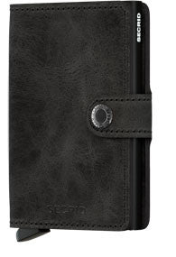 Secrid Miniwallet Vintage Black RFID Secure Mini Wallet-Authorized Dealer Leather