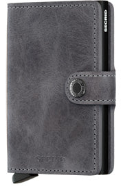 Miniwallet Vintage Grey-Black Wallet RFID Secure-Authorized Dealer mini-wallet Leather