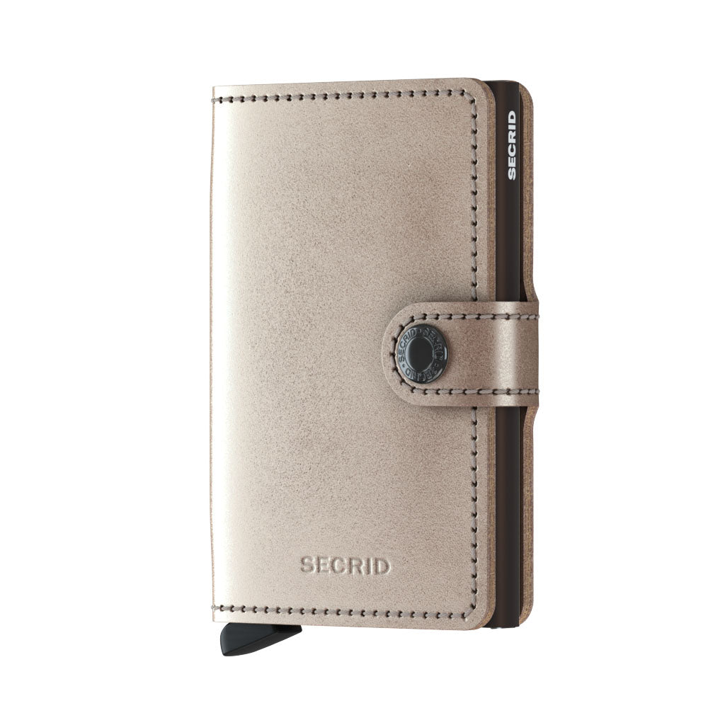 Secrid Miniwallet METALLIC Champagne/Brown RFID Secure mini Wallet authorized dealer Leather