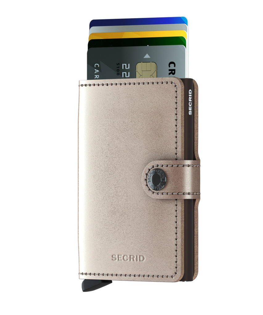 Secrid Miniwallet METALLIC Champagne RFID Secure mini Wallet authorized dealer Leather