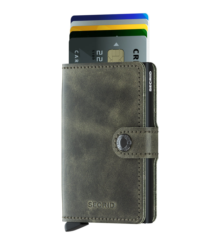 Secrid Wallet RFID Secure MINIWALLET Vintage Olive-Black Leather AUTHORIZED DEALER-mini-wallet