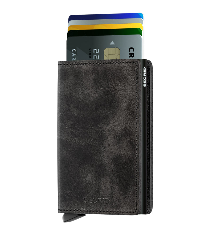 Secrid Slimwallet RFID Vintage Black RFID Secure Wallet-AUTHORIZED DEALER Leather