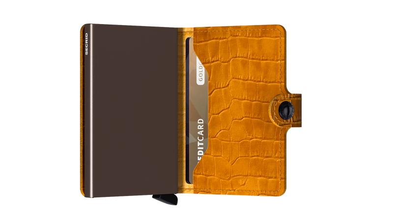 Secrid Miniwallet Cleo Ochre/Brown RFID Secure Authorized Dealer Leather mini Wallet