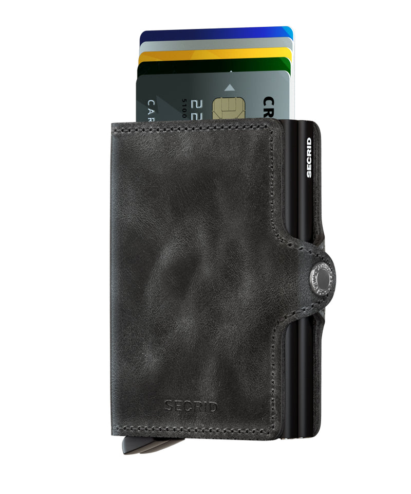 Twin Wallet Vintage Black RFID Secure Twinwallet-AUTHORIZED DEALER Leather