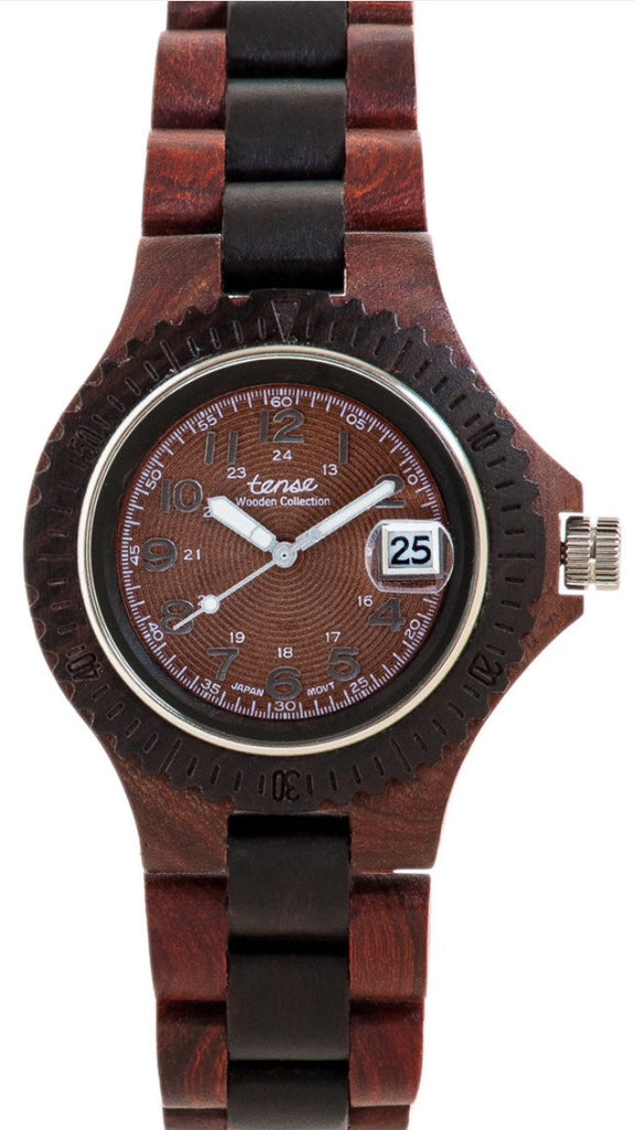 Tense Men's Wooden Watch Compass - Rosewood/Dark Sandalwood