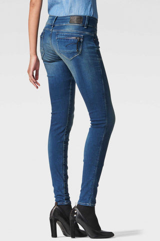 G-Star Woman's LYNN MID SKINNY Dark Aged Rinsed Denim Jeans