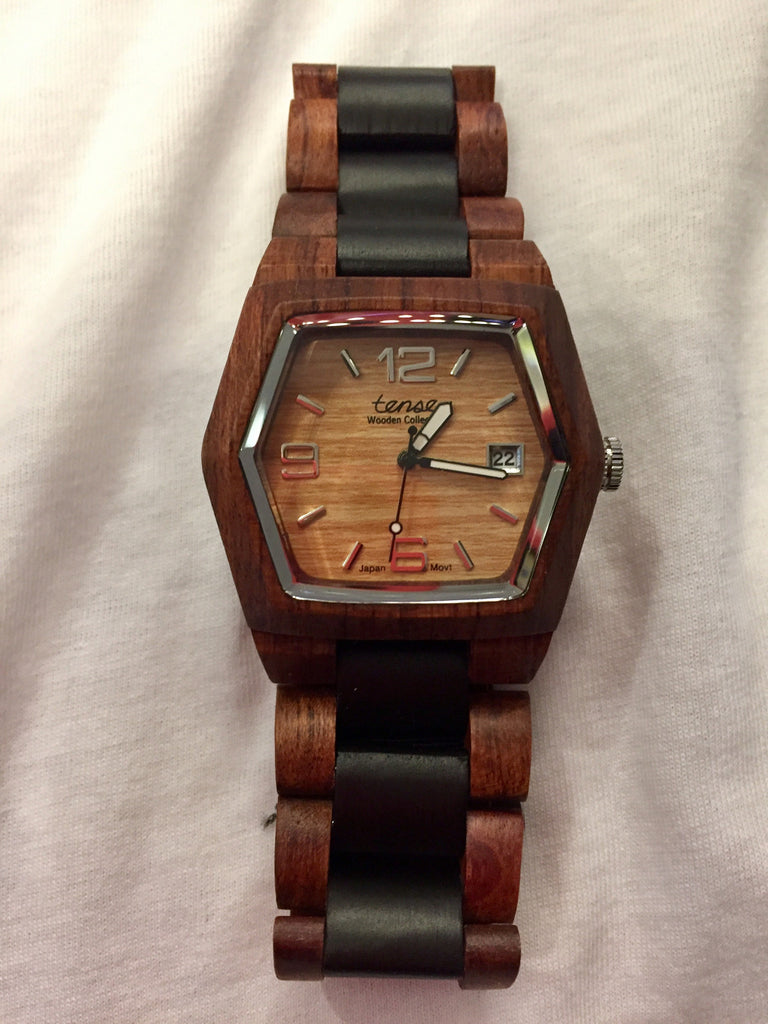 Tense Men's Wooden Watch Kootenay - Rosewood/Dark Sandalwood